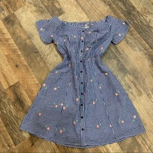 Everly Lined gingham off shoulder button up dress